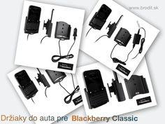 Nové držiaky do auta pre BlackBerry Classic. Pasívny držiak Brodit pre pevnú montáž v aute, aktívny s CL nabíjačkou s USB oknketorom alebo s Molex konektorom.