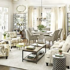 floor plan (add a fireplace between the two arm chairs) Do not like the too perfect decor!