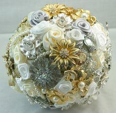 Silver & Gold Bridal Brooch Bouquet - Vintage Victorian Elegance