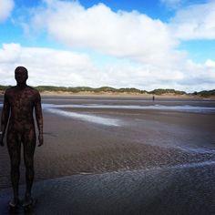 Antony Gormleys Another Place, Crosby Beach - instagram @nikicottonartist #nikicottonartdotcom #beachlife #metalmen #inspiration