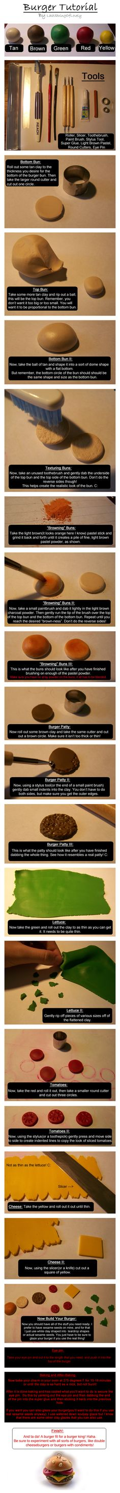 Tutorial on how to make a fimo or polymer clay Burger / Hamburger - this works for fondant too