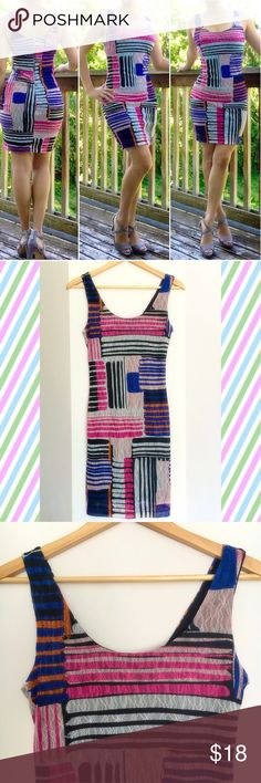"Bar III Body Con Dress Lace multi color shell with black lining. Fun party dress or night out with the girls 💃🏻😍 Size small, it is not too tight and has stretch to it. Approx 37"" from top of shoulder to bottom hem. Polyester/spandex mix. Feel free to ask any questions. Happy Poshing!! 💃🏻🎉💃🏻🎉💃🏻 Bar III Dresses Midi"