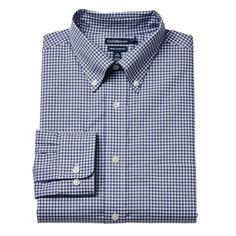 Men's Croft & Barrow® True Comfort Fitted Oxford Stretch Dress Shirt, Size: 15.5-32/33, Blue