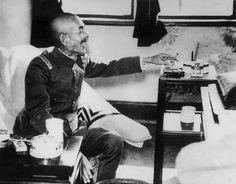 General Iwane Matsui (1878-1948) of the Japanese Imperial Army at his Shanghai headquarters during the Second Sino-Japanese War in 1938. He was later executed as a war criminal for his role in the Nanking massacre.