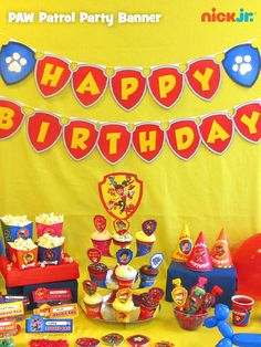 Bring the whole PAW Patrol party display together with an easy to make Happy Birthday banner.