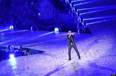 British singer George Michael performs during the closing ceremony of the 2012 London Olympic Games on August 12, 2012 at the Olympic stadium in London.