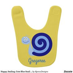 Shop Happy, Smiling, Cute Blue Snail Character + Name Bib created by AponxDesigns. Chubby Cheeks, Character Names, Baby Safe, Toddler Fashion, Baby Bibs, Snail, Cute Babies, Happy, Prints