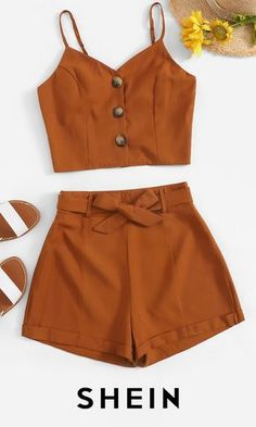 Button Front Cami Top With Belted Shorts - Button Front Cami Top With Belted Shorts Source by SHEINofficial - Crop Top Outfits, Cute Casual Outfits, Cute Girl Outfits, Cute Summer Outfits, Stylish Outfits, Teenage Girl Outfits, Teen Fashion Outfits, Teenager Outfits, Look Fashion