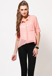 For a sophisticated and classy look, this pink coloured top from Freecultr is an ideal pick. Featuring stylish roll-up sleeves and a trendy design, this shirt is hard to resist. Made from poly georgette, this top is soft to your skin and will ensure comfort all the way.