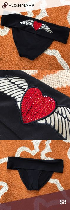 VS Bikini Bottoms Crystal embellished heart on the back. Fold over waist. Moderate back coverage. Victoria's Secret Swim Bikinis