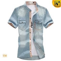 Mens Plus Size Collarless Denim Shirt CW114108 $75.89 - www.cwmalls.com