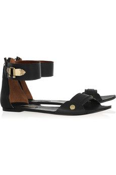 Black leather sandals with gold embellishment. By 12th Street by Cynthia Vincent.