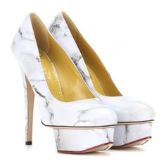 Charlotte Olympia Dolly Printed Leather Pumps ($715) ❤ liked on Polyvore featuring shoes, pumps, heels, charlotte olympia, white, leather shoes, genuine leather shoes, white leather shoes and white pumps