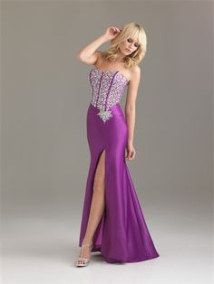 Romantic Mermaid Sweetheart Sequin Side Slit Violet Floor-length Prom Dress PD0382 For Sale