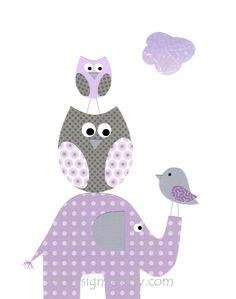 Kids Wall Art, Nursery Decor, Baby Girl Room Decor, Elephants, Owls, Bird, Purple, Lavender, Gray, Stack Em Up, 8x10 Print