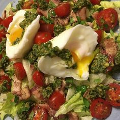 Day 7: #Whole30 Supper = Believe it or not salads are like a comfort food for me. Tonight I topped lettuce with bacon grape tomatoes pesto (Arugula Walnut & Garlic Pesto recipe on page 256 of #whole30cookbook) a couple of poached eggs and a simple dressing of avocado oil and apple cider vinegar. Time Saving Tip: batch cook your bacon and freeze the slices layered between parchment paper. That way when it's late and you get a hankering for a breakfast salad you can just grab a couple of…
