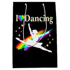 DAZZLING I LOVE DANCING BALLERINA DESIGN MEDIUM GIFT BAG Inspire your beautiful Ballerina with our lovely Dancer Tees and Gifts.  http://www.zazzle.com/mysportsstar/gifts?cg=196655264925785682&rf=238246180177746410  #Dancer #Dancing #Dancergifts #Ballet #Ballerina #Lovedancing #Loveballet
