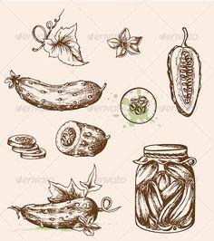 Vintage Vector Cucumbers