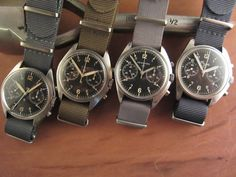 The Fabulous Four: Hamilton, CWC, Newmark, and Precista British military-issued chronographs running Valjoux 7733 movements