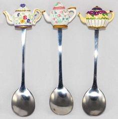 Teapot Handle Demi Spoons - Purple Floral - Tea Spoons - Roses And Teacups