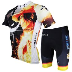 66.00$ Buy now - http://alic0x.worldwells.pw/go.php?t=32723058620 - 2016 new comic One Piece men's Ace cartoon cycling jersey+ funny Ace cycle shorts biking suits novelty bike jersey/sets/kits 66.00$