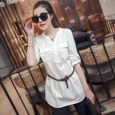 2015 spring women's V-neck pocket wild white shirt and long sections USD$18.64