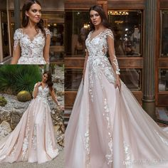 Wholesale inexpensive wedding dresses, red wedding dress and strapless wedding dresses on DHgate.com are fashion and cheap. The well-made crystal design 2017 bridal gowns long sleeves v neck heavily embellished lace embroidered romantic princess blush a line beach bridal gowns sold by sunnybridal01 is waiting for your attention.
