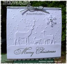 Memory Box Deer Trio - another Fan Club card - Geprägte karten Stamped Christmas Cards, Homemade Christmas Cards, Christmas Cards To Make, Christmas Deer, Xmas Cards, Handmade Christmas, Homemade Cards, Holiday Cards, Christmas Crafts