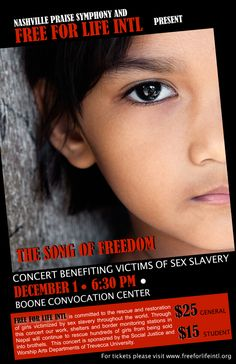 If you are in the Nashville area check out this concert. There will be a 50 piece symphony and amazing silent art auction featuring top artists from the area. Get your tickets now help ensure Free for Life continues it's work of rescue and restoration of girls victimized by sex slavery throughout the world. Go to www.freeforlifeintl.org for more info