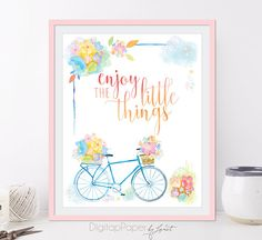 Enjoy the little things  Quote Art Print Poster  8 x 10 inch