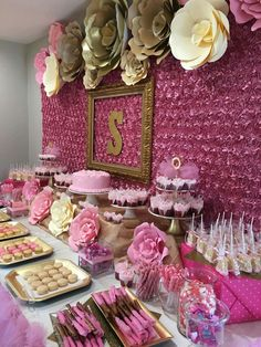 Pink backdrop paper flowers party decor doğum günü partisi f Fiesta Baby Shower, Baby Shower Parties, Baby Shower Themes, Shower Ideas, Sweet 16 Birthday, 16th Birthday, Birthday Parties, Birthday Ideas, Pink Backdrop
