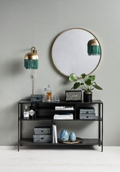 Display Rack, Long, Black Iron Whether this is used in a bathroom or a living space - this gorgeous black iron display rack is great for display. Neutral Bedrooms, Trendy Bedroom, Room Paint Colors, Bedroom Colors, Bedroom Inspo, Wall Bench, Bench Seat, Console, The Big Comfy Couch