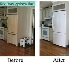DIY Fridge Makeover with {Rustoleum Appliance Paint!}