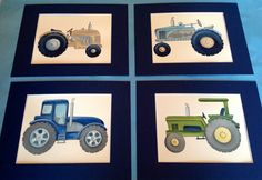 Tractor boys nursery wall art prints matted by theprincessandpea, $40.00