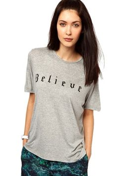 Gray Round Collar English Letters Printing T-shirt | Fashion4you - Clothing on ArtFire