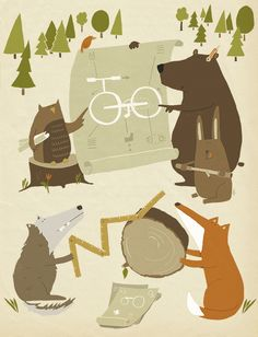 Bike in the wood illustration by Katrin Wiehle