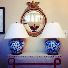 Federal Mirror and Ginger Jar Lamps on eastmeetssouthblog.blogspot.com