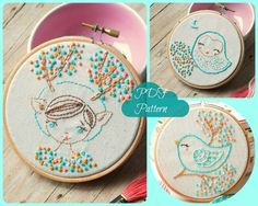 PDF. Hand embroidery Pattern. Deer girl, owl and bird.