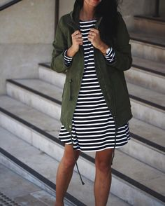 "Bohemian Traders on Instagram: ""Striped Swing Dress and Khaki Anorak. Need it ✔️✔️✔️"""