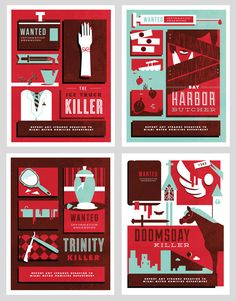 Dexter Wanted Posters by Misty Manley.  I really love the style for these!