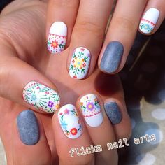 40 - Nail art designs in different colors for you - 1 If you want to make a difference, we offer you nail designs. These nail designs will show you di. Nail Art Designs, Colorful Nail Designs, Cute Nails, Pretty Nails, Hair And Nails, My Nails, Nails 2018, Beauty And Fashion, Flower Nails