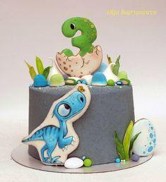 103 отметок «Нравится», 22 комментариев — Ольга Багрянцева (@bagriantsevaolga) в Instagram: «Новый тортик для любителя динозавром в зелено-голубых тонах.... Очень ароматный вкусный тортик…»