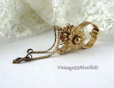 Vintage Glove clip Floral Gold tone by Vintage55Motifs on Etsy, $10.00