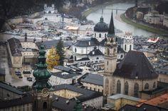 Salzburg, Austria, a view from Salzburg Fortress, city panorama