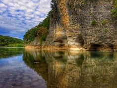 Skull Bluff on the Buffalo National River. You can kayak in and around the rocks! Located in the Buffalo National River Area, Ozark Mountains near  Woolum, Arkansas - Photo: Corrie Webb