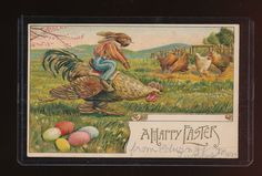 Beautiful Easter Fantasy –Dressed Rabbit in Clothes Riding Rooster Gilt Emb. Circa 1907 wob/wof in overall good condition in protective sleeve.