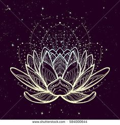 Intricate stylized linear drawing on starry nignt sky background. Intricate stylized linear drawing on starry nignt sky background. Concept art for Hindu yoga and spiritual designs. Art Lotus, Lotus Kunst, Lotus Flower Ring, White Lotus Flower, Lotus Flower Design, Lotus Flower Images, Flower Tattoo Designs, Flower Tattoos, Lotus Flower Wallpaper