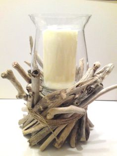 Driftwood Centerpiece, Driftwood Candle Holder - Centerpiece - Beach -  Beach wedding  & beach bridal shower