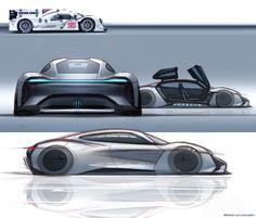 Porsche Mission E sketches by exterior designer Emiel Burki | October 23, 2014