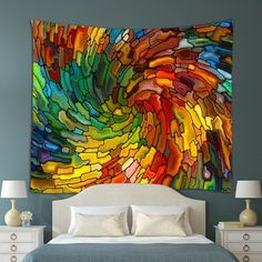 All the colours of the rainbow swirled up into a brilliant wall hanging.... who needs wall paper when you can do this!